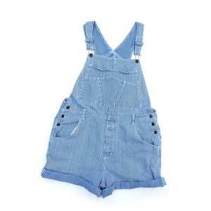 Vintage Denim Striped Shorts Overalls